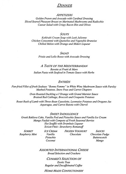 Dinner Menu on QE2 – Dinner Menu