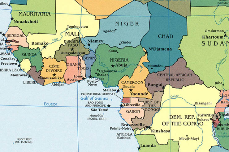 Map of West Africa Ivory Coast In Africa Map on